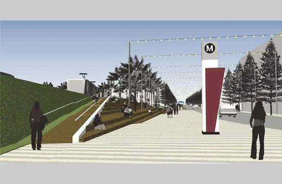 A rendering of the Expo Downtown Station entrance looking west to the Esplanade and Pier sign beyond.