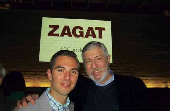 Stella Rossa Pizza Bar chef Jeff Mahin (left) and Zagat founder Tim Zagat.