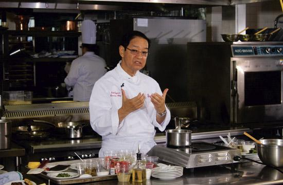Chef Katsuo (Suki) Sugiura during one of the cooking demonstrations held on Monday at The Art Institute of California in Santa Monica.
