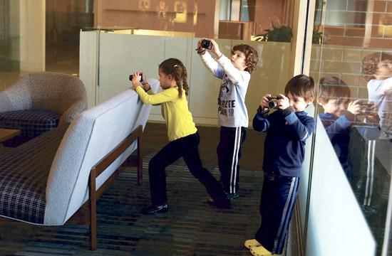 "Some of the students at Evergreen Community School ""spying"" at Lionsgate's headquarters."
