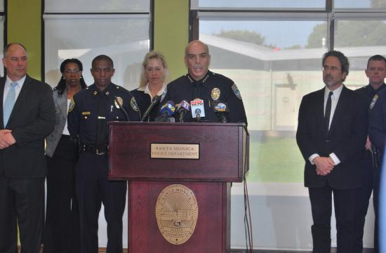 Santa Monica police chief Tim Jackman led a press conference stating suspects in a 2008 murder case have been apprehended.