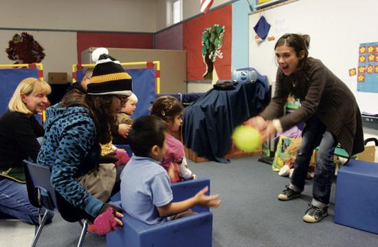 UCPlay Project program manager Olivia Karaolis teaches students with Autism and other developmental disabilities at nine schools within the SMMUSD each week. She is pictured here at one of her classes at Franklin Elementary School on Montana Avenue.