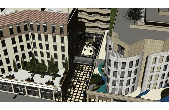 A rendering of the 710 Wilshire Boulevard Hotel/Landmark project.