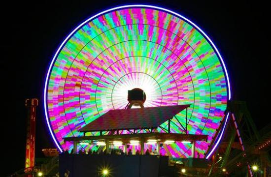 The Ferris wheel's high-tech lighting capabilities feature 160
