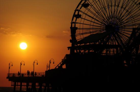 The Ferris wheel on the Santa Monica Pier joins international landmarks including the Sydney Opera House and Eiffel Tower at 8:30 p.m. on March 31.
