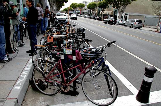 The unofficial grand opening for new bike corrals on Main Street was held outside of Peet's Coffee at 2439 Main Street.