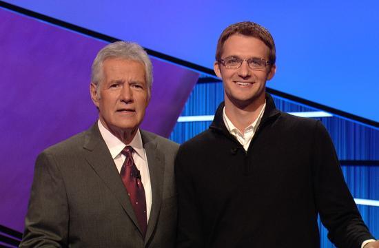 Jeopardy! host Alex Trebek (left) and Joey Falco.