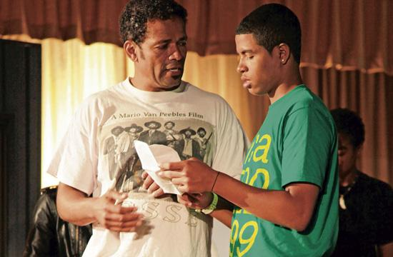 """Mario Van Peebles with his son Mandela who has the lead role in """"We The Party"""