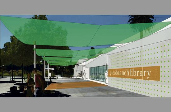 A rendering of the Pico Branch Library.