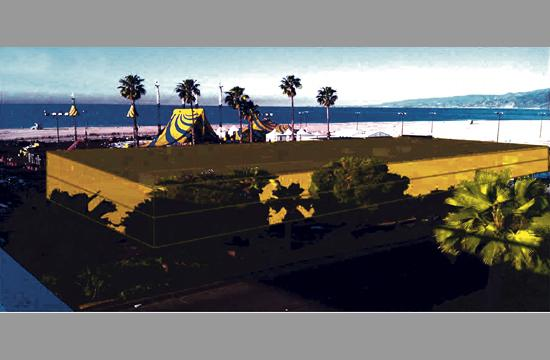 A rendering of the three-story garage proposed for the parking lot next to the Santa Monica Pier.