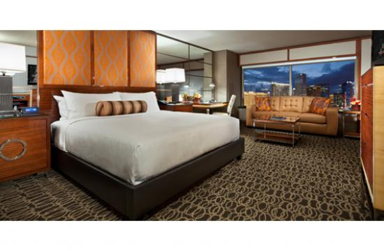 The Grand King guest rooms at MGM Grand create comfortable and functional spaces.