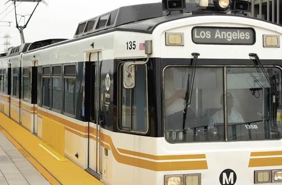 One of the new trains on the Expo Line's arrives into a stop at the Jefferson/La Cienega station. The Expo Line's second phase will bring the new rail service to Santa Monica by 2016.