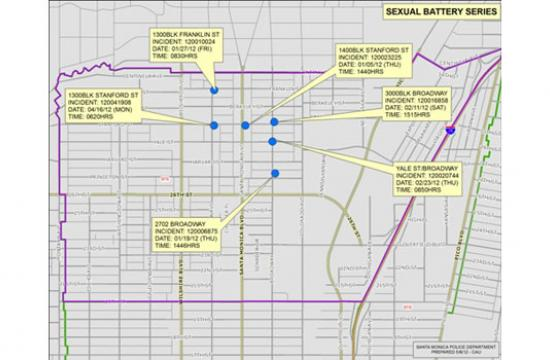 Six sexual battery cases have occurred in Santa Monica since Jan. 27