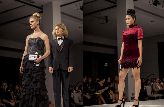 "Inken Brough's evening gown tied with Samantha Safir's burgundy shirt and top for ""Best in Show"" at ""LA Mode 2012"