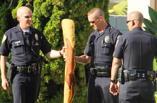 Santa Monica Police officers confiscate a suspicious looking item from an apartment complex on Ocean and Idaho where a domestic violence call had been made earlier in the day.