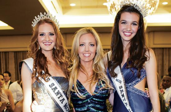Haley Fletcher (left) was crowned the first Miss Santa Monica USA on Sunday. She is pictured with pageant founder/producer Kristen Bradford and Masha Krasnoff who was crowned as the first Miss Santa Monica Teen USA.