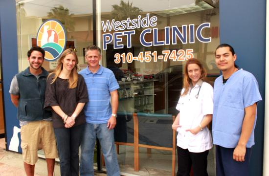 Westside Pet Clinic owners Jacques Habra (from left) and Randy and Dena Saumers with the clinic's Dr. Cynthia Hervatic and Leo Castillo.
