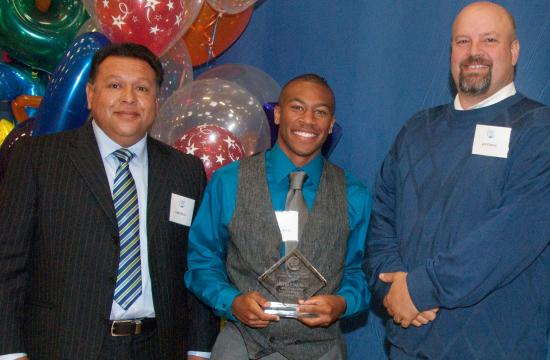 SMC Athlete of the Year Michael Tobin Jr. with coach Larry Silva (left) and Athletics Project Manager Joe Cascio (right).
