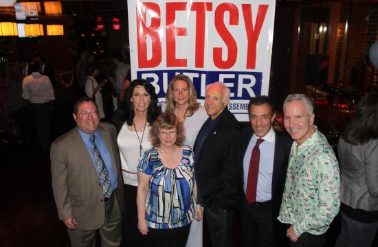50th Assembly District Democrat candidate Betsy Butler (center back) with several of her supporters on primary election night at the bar Eleven in West Hollywood.