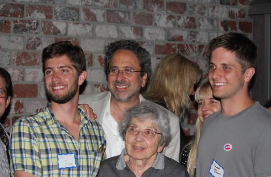 Richard Bloom with his mother and sons on primary election night at Brick and Mortar in Santa Monica.