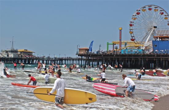 Thousands of spectators gathered Sunday to watch some of the best watermen and waterwomen in the world compete at the 2012 Santa Monica Pier Paddle Race and Ocean Festival.