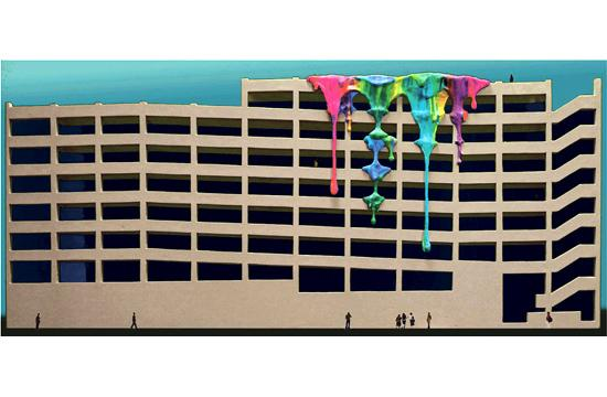 A rendering of the brightly-colored 'paint drip' sculpture for the east façade of the new Parking Structure 6 at a cost of $125