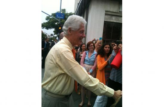 Bill Clinton shook hands and posed for photos on the Third Street Promenade in Santa Monica earlier today.