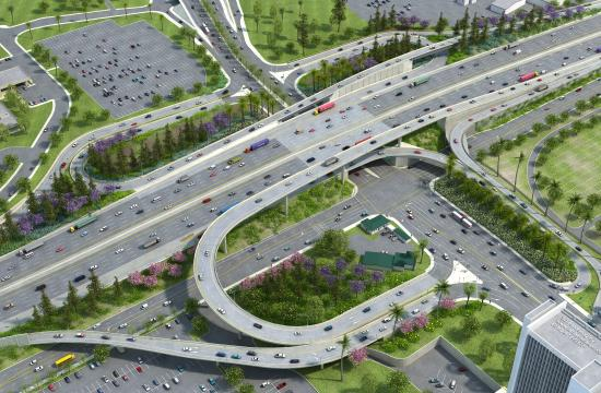 A rendering of what the 405 Freeway will look like at Wilshire Boulevard. The I-405 Sepulveda Pass Improvements Project began demolishing the first of eight ramps joining Wilshire  and the 405 Freeway on Friday. Reconstruction of all eight Wilshire ramps is expected to take more than one year.