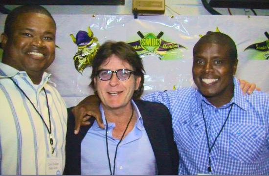 Sheldon Philip-Guide (left) pictured with Charlie Sheen and assistant coach Tony Todd at the third annual Samohi Baseball Charity Poker Tournament and Auction at the Moose Lodge last November.