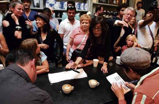 Caffe Luxxe co-owner Mark Wain (left front) and LA Weekly writer Tien Nguyen (right front) judge the tulip round.