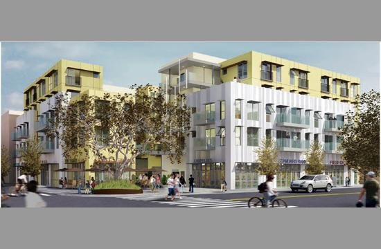The previously approved mixed-use project at 1447 Lincoln Boulevard. The developer is seeking to expand its plans for the site.
