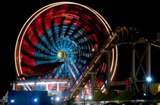 Pacific Park celebrates 4th of July with patriotic colors and patterns on the world-famous Ferris wheel.