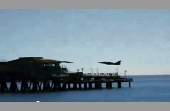 A screenshot of David G. Riggs when he buzzed the Santa Monica Pier in 2008.
