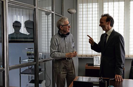 """Woody Allen (left) and Roberto Benigni on the set of """"To Rome With Love."""""""