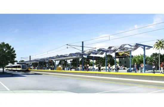 A rendering of the Expo Line's station at Colorado and 17th Street in Santa Monica.
