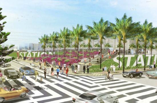 The item concerning Colorado Esplanade's final designs was withdrawn from City Council last Tuesday. Pictured is a rendering of Station Plaza View looking southeast.