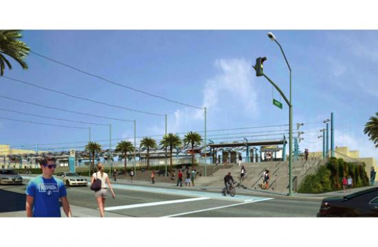 A rendering of the Expo Line's station at Colorado and 4th Street in Santa Monica.