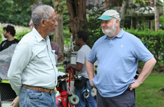 "Actor Morgan Freeman with director Rob Reiner on the set of ""The Magic of Belle Isle."""