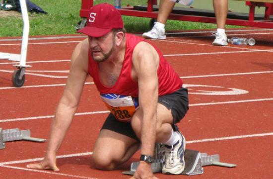 Mirror columnist Tom Elias in the blocks at the 2010 Transplant Games of America. He will compete at the 2012 Games later this month.