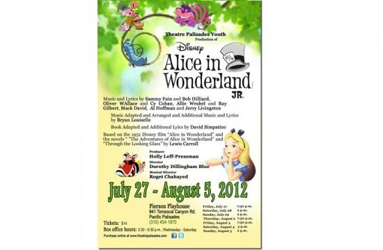 """Theatre Palisades Youth will perform the play """"Disney's Alice in Wonderland JR"""" July 27 through August 5."""