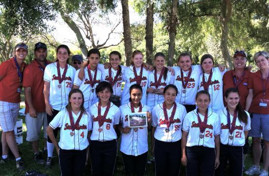The 2012 Santa Monica Girl Softball 14U All Star Team. Back row from left: Head coach Chris Druckman