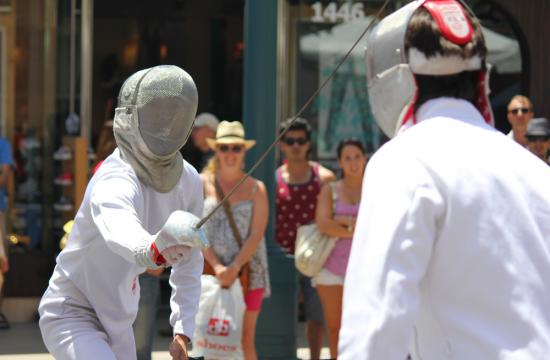 A fencing demonstration at the festival.