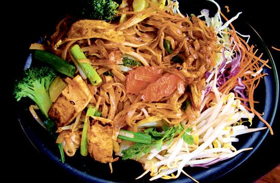 Thai Vegan on Main Street serves up dishes prices between $3–$7 including the  Fresh Vegetable Tofu Roll and Pad Thai.