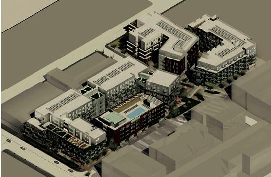 A rendering of the Village Trailer Park development planned for 2930 Colorado Avenue in Santa Monica.