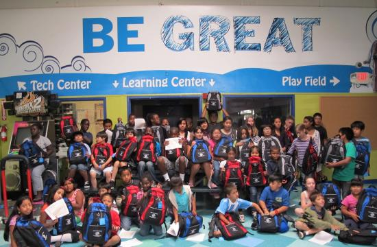 Club children received brand new backpacks and school supplies on Saturday - courtesy of the Sketch Foundation.