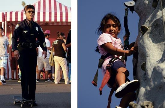 Santa Monica Police Chief Jacqueline Seabrooks shows off her skateboarding skills. Meanwhile