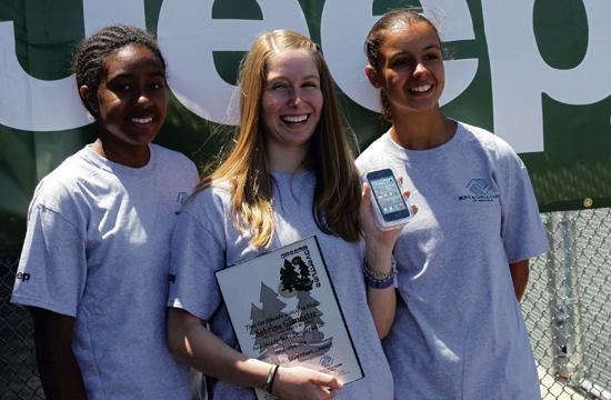 "Fourteen-year-old Sabrina Giannette (center) won a national contest for her 60-second video describing her ultimate ""Dream Adventure."" Her prize was an iPod touch and a fun afternoon of activities. Pictured with her is Hilaria Vanputten"