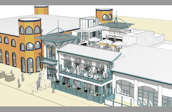 A rendering of the rooftop dining deck proposed for the Santa Monica Pier.