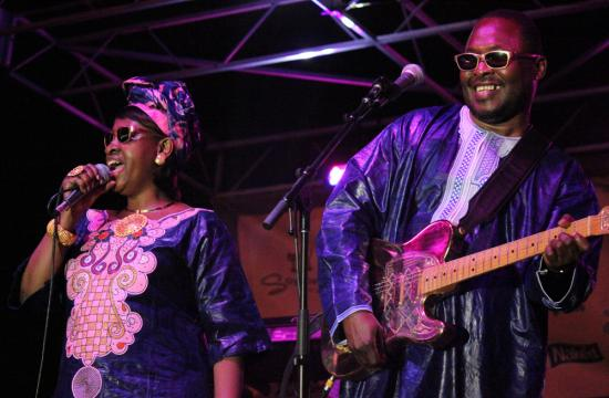 Headliners Amadou and  Mariam sparkled in traditional African garb on Thursday night at the seventh Twilight Concert Series of the summer.