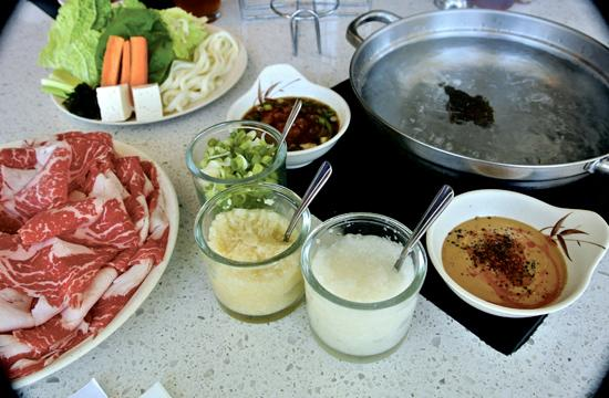 Cook your meal from ribbons of raw meat at California Shabu Shabu.